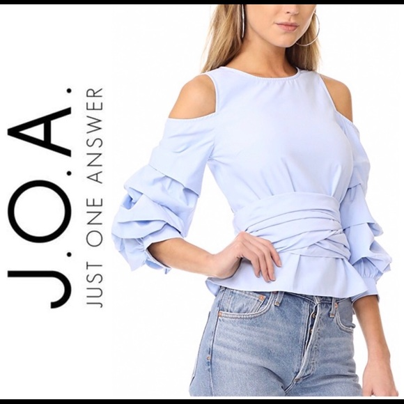 J.O.A. Tops - J.O.A. Ruffle Wrap Top Light Blue